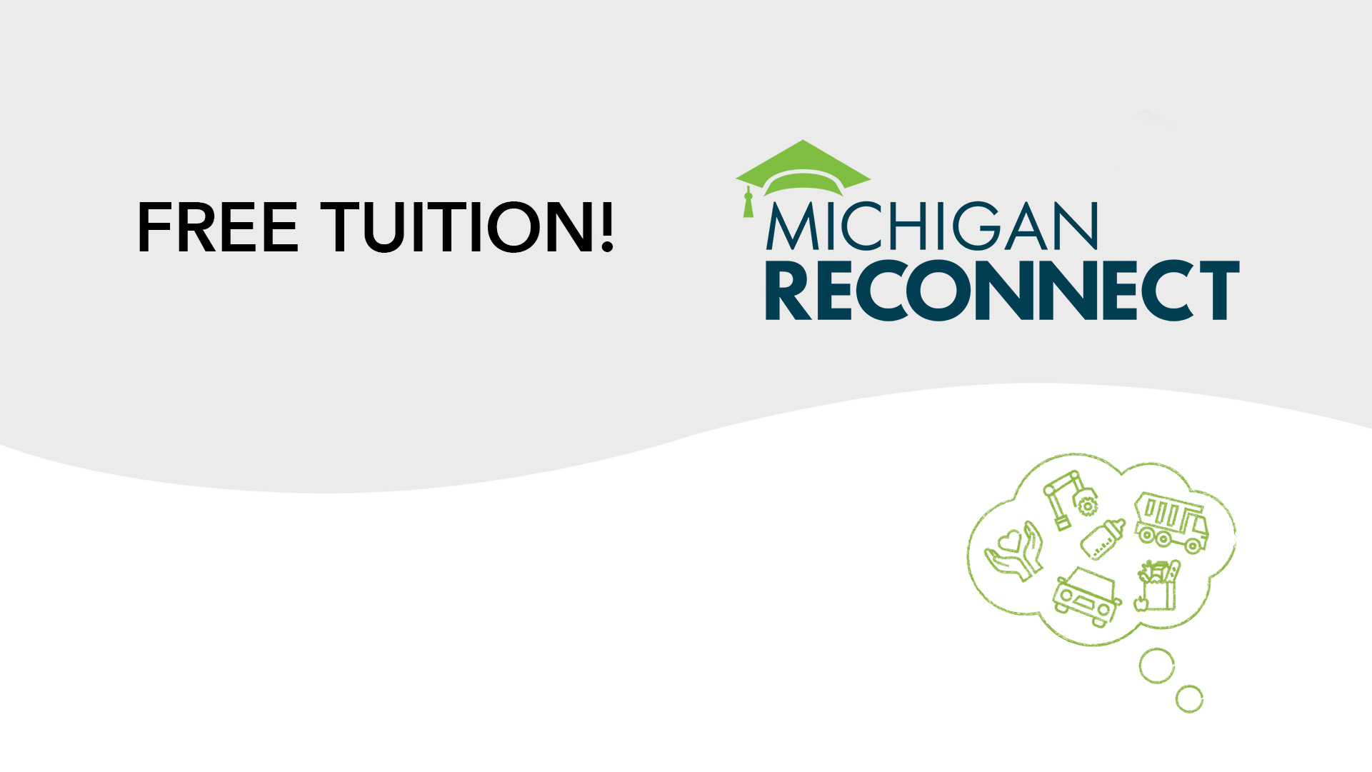 Michigan Reconnect Graphic and the words Free Tuition