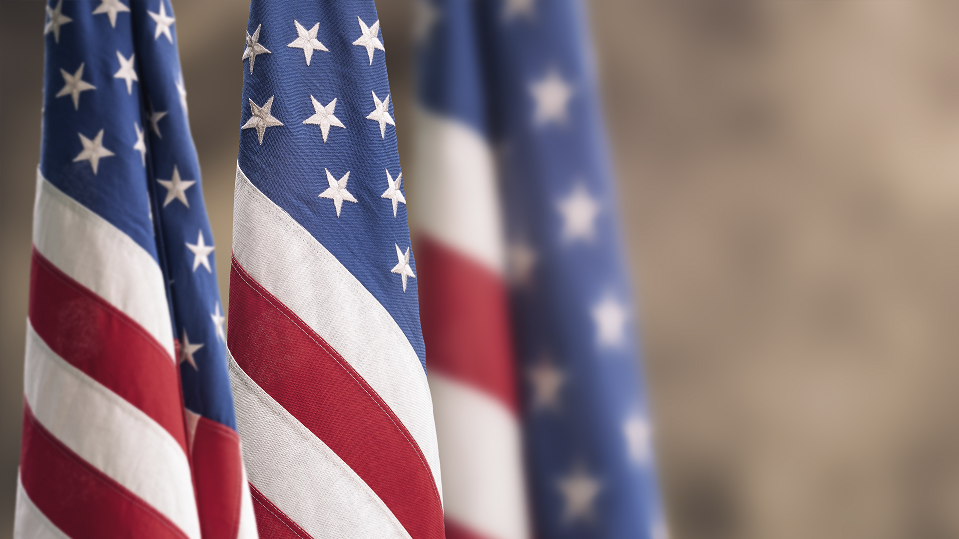 Three United States flags
